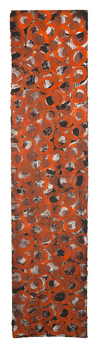 Celebration of the birds, 2012 acrylic on paper, 140 x 38 cm.